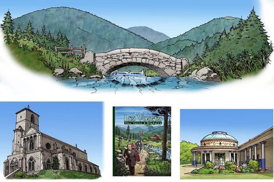 Quelques planches de la bande dessinée sur Les Vosges - une terre d'histoire de Bertrand Munier et Didier Pagot (dessins) @ DR
