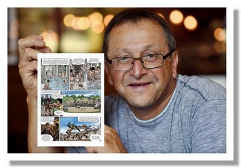 Bertrand Munier présente la première bande dessinée sur les Vosges dont il est l'auteur. Publiée aux éditions du Signe à Strasbourg.. @ DR.