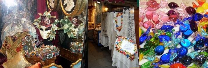 Venise, les masques de Carnaval, Dentelles de Burano, Cristal de Murano