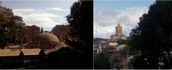 De gauche à droite :  les bains d'Abanotubani et leurs façades en mosaïque bleue évoquent plutôt les splendeurs des palais Turcs. et le Musée d'Histoire de Tbilissi. @ FS