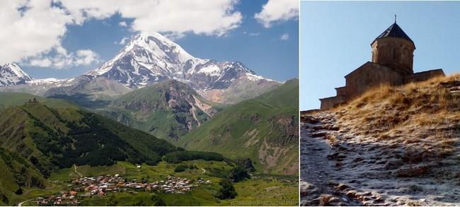 Kazbegi, au pied du mont Kazbek. Très haut au-dessus du village, la petite église de la Saint Trinité de Guergueti (XIVe siècle) apparaît au sommet de sa montagne (2170 m). @OT Georgie