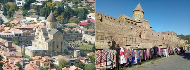 Mtskheta, l'ancienne capitale de la Georgie avec sa célèbre cathédrale de Svétitskhovéli  @ wikimedia et OT Georgie