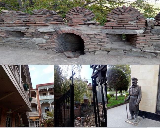 En haut : Muraille d'Ananouri  @ OT Georgie; en bas de gauche à droite :  1/Les maisons en bois de la vieille ville de Tbilissi. 2/ A Ananouri , derrière la grille ouvragée des vieilles maisons, à leurs pieds des vestiges. @ FS  3/Une statue dans la ville tbilissi. @ FS