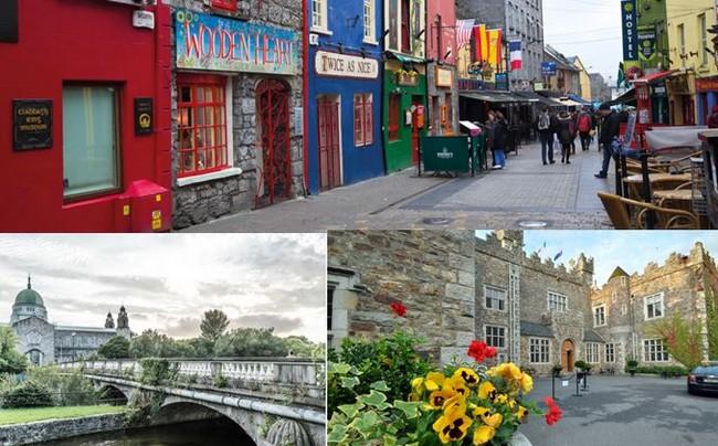 Photo du haut et en bas à gauche : le charme de la ville de Galway. @ David Raynal,; Pour les voyageurs épris de quiétude, le Waterford Castle Hotel & Golf Resort est une adresse incontournable.Crédit photo David Raynal