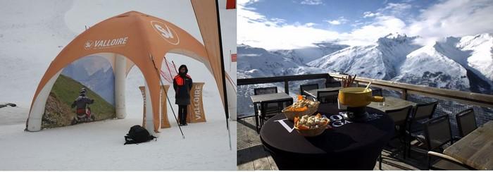 Les joies des sports de glisse à Valloire et le plaisir de déguster une fondue avec vue sur les Alpes. @ RB et OT Valloire