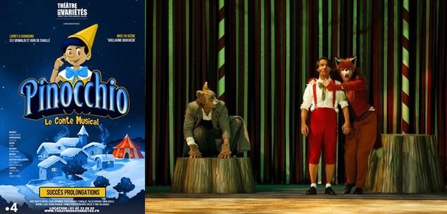 L'affiche du spectacle et photo de Pinocchio du renard et de Jiminy cricket. @ DR