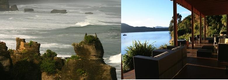 1- Punakaiki défie la Mer de Tasman sur la Côte Ouest près de Greymouth. 2 - Hébergement de charme à Bay of Many Coves dans les Marlborough Sounds.