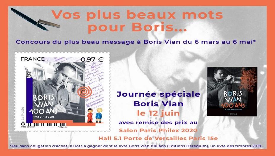 du 6 mars au 6 mai 2020 à l'occasion de l'émission  du timbre du Centenaire Boris Vian, concours du plus beau message adressé à Boris Vian. @ DR