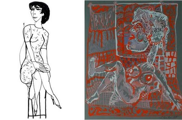 L'exposition qui devait être présentée à Paris jusqu'au 11 avril de ses œuvres confirme que les dessins de Šlitr, comme ses chansons, restent pour le public actuel compréhensibles et attractifs. @ expo Jiří Šlitr  -  Photo D.raynal