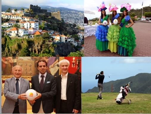 De gauche à droite en partant du haut, la ville de Funchal, trois Reines de la fête des fleurs,Jean-Pierre Tuveri, maire de Saint-Tropez, Philippe Soleillant organisateur des Drives de Saint-Tropez et Miguel Filipe Machado de Albuquerque, maire de Funchal, un swing au golf de Santo da Serra /Crédit photo David Raynal
