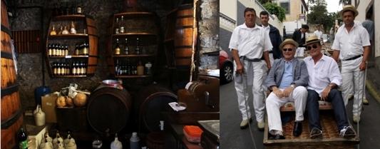 Bar à vins de Madère, Jean-Pierre Tuveri, maire de Saint-Tropez, Richard Galy, maire de Mougins ensemble à la descente dans le même panier d'osier/David Raynal