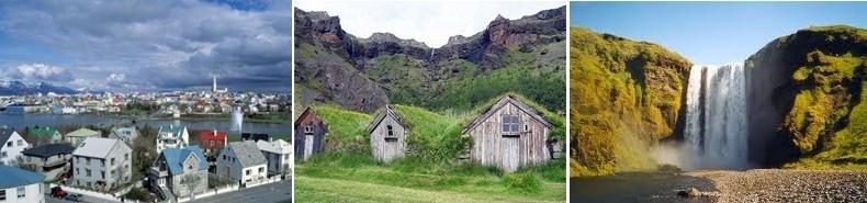 Reykjavik la capitale, village dominé par les falaises de Lomagnupur, magnifique cascade.