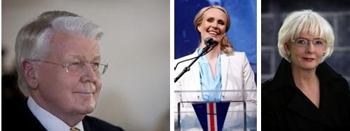 le Président Islandais  Olafur Ragnar Grimsson,  Thora Arnorsdottir, Johanna Sigurdardottir,