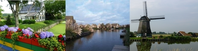 Vue sur le bord des canaux,Maisons sbungalowpark à Zuiderzee, Moulin habité.