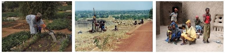 Malienne dans son jardin, Repos en famille sur la route de Kayes,  Femmes et enfants dans la cour de la concession