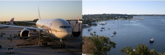 Boeing 777-200 LR à son arrivée sur le parking de l'aéroport de Perth-Western Australia/ 2 Vue sur Perth (Photos Richard Bayon)
