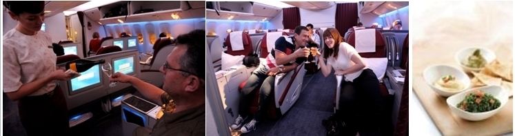 Test lors du vol inaugural de Qatar Airways (photos Robert Kassous)