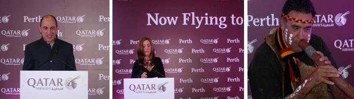 le Président de Qatar Airways M.Akbar Al Baker de Qatar Airways lors de la conférence de presse à Perth/ 2   Présentatrice officielle  de Qatar Airways/ Cérémonie d'accueil des aborigènes : joueur de didgeriddo, instrument à vent traditionnel (Photos Richard Bayon)
