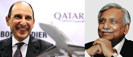 MM. Akbar Al Baker de Qatar Airways et Naresh Goyal de Jet Airways