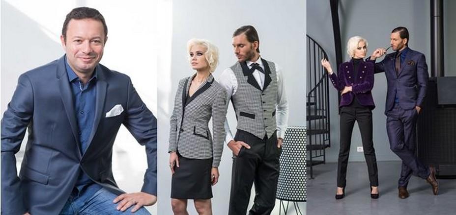 De gauche à droite : Portrait de Pierre Florentin, fondateur de la marque SERVI. et ses modèles de tenues hôtelières tendances. @ DR