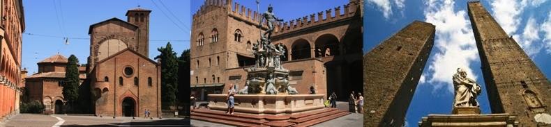 Complexe d'églises Santo Stefano, Fontaine de Neptune sur la Piazza Nettuno,La tour Garisenda 48,16m et la tour Asinelli 97,20 m.