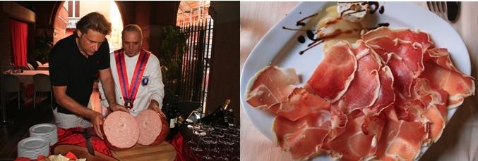 Dégustation de mortadelle avec le Chef Miriano Baldacci,  assiette du fameux jambon de Parme.