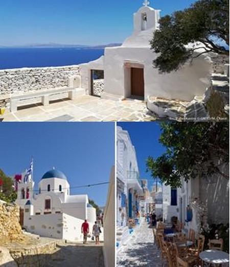 En haut : Ios Palaiokastro @M Chatz;  En bas de gauche à droite : Donousa Stavros  @S Pavlidis; Kimolos Chorio  @ K Kouzouni