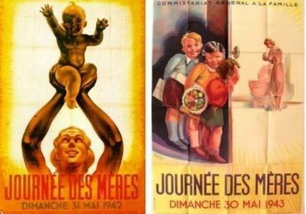 Contrairement aux idées reçues, ce n'est pas le maréchal Pétain qui a inventé la fête des mères. @ Pinterest.