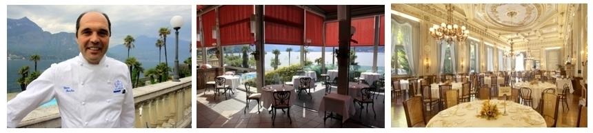 """Ettore Bocchia (à gauche) est à la tête des deux restaurants du Grand Hôtel Villa Serbelloni à Bellagio sur les rives du lac de Côme. La """"salle à manger""""  du Grand Hôtel est à elle seule un véritable monument d'art avec son Salon Royal, illuminé le soir par des lustres en bronze et cristal qui se reflètent dans de grands miroirs (photo droits réservés)."""