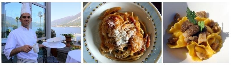 Ravioli de paon, morilles fraiches et son bouillon de volaille, turbot cuit dans du sucre avec purée de pommes de terre, nouvelle meringue italienne à la menthe, la cuisine d'Ettore Bocchia est un enchantement permanent.