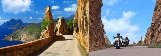 Au fil des cordons sinueux d'asphalte les motards découvrent les merveilleux paysages du Colorado Corse. @ Corsicamore et Corsica hôtels