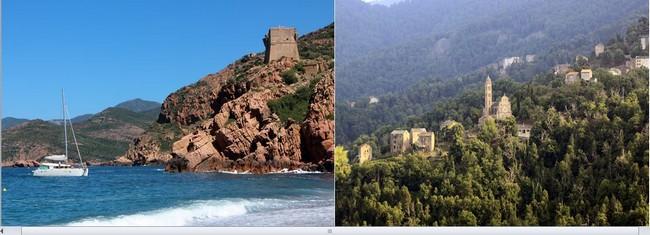 De gauche à droite : Porto et le poumon vert de la Castaniccia @ David Raynal