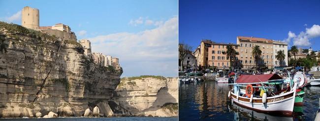 De gauche à droite : la citadelle de Bonifacio @ David Raynal et la cité impériale d'Ajaccio @ATC-S.Alessandri