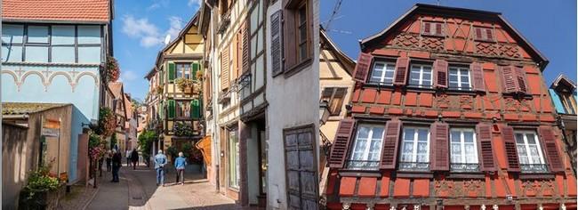 Une rue de Ribeauvillé  où les pans de bois affichent une prospérité qu'on lit dans le symbolisme desdits pans de bois.  @C.Gary et @ OT Ribeauvillé