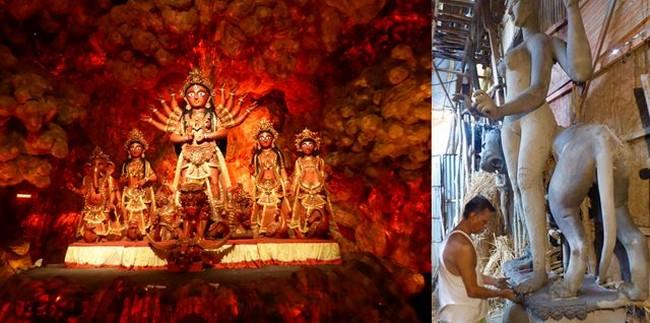L'un des sanctuaires de Durga puje ( octobre 2019) @ C. Gary et Le quartier des artisans de Kumartuli désormais fermé @.C.Gary