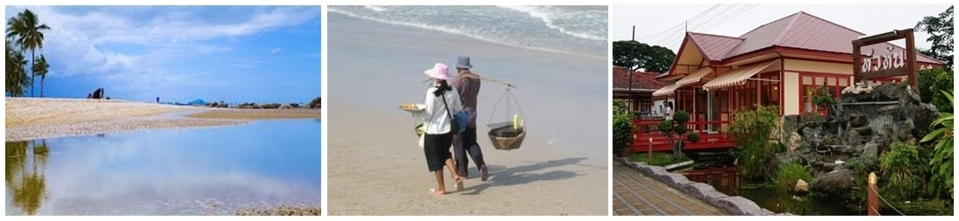 Station balnéaire de  Hua Hin,un couple de pêcheurs sur la plage, la magnifique petite gare royale de Hua Hin