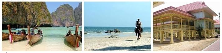 Crique de pêcheurs, un cavalier solitaire sur la magnifique plage, le palais Maruekhathaiyawan construit par le roi Rama VI