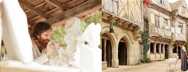 de gauche à droite :Dans la cité médiévale  les artisans sont à l'œuvre. @Cécile Potier La cité médiévale reconstituée avec ses colombages et ses toits de chaume et de lauzes @ Le Puy du Fou