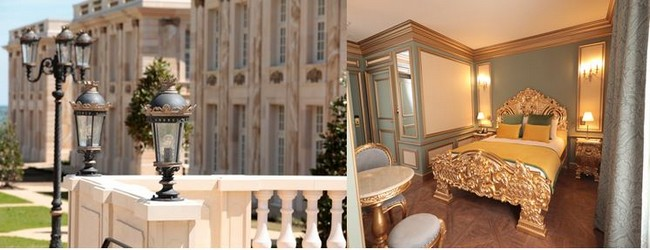 De gauche à droite : Le Grand Siècle - Chambres extérieures et Le Grand Siècle et ses chambres inspirées du Roi Soleil  - Chambre intérieure . @ Le Puy du Fou