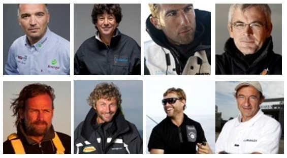 De gauche à droite les navigateurs : Zbigniew Gutkowski, Jean Le Cam, Armel Le Cleac'h, Vincent Riou, Javier Sanso, Bernard Stamm, Alex Thomson, Dominique Wavre. Crédit photo VendéeGlobe