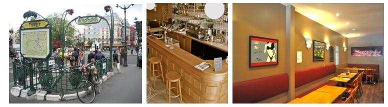 Station Pigalle, Bar du Zaganin, la salle de restaurant également salle d'exposition
