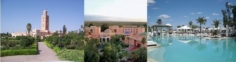 Les jardins et  la Mosquée Koutoubia (C. Daniel Csörföty), Palace Es Saadi,  Nikki Beach (Marrakech).