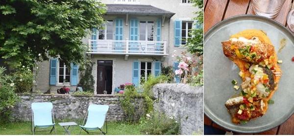 De gauche à droite :Nay. Chambre d'hôtes L'Estancat. Bel accueil et grand jardin @ C.Gary  Nay. Régal de poisson au restaurant Saint Pierre @ C.Gary