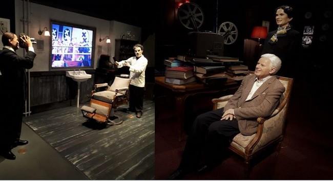 Chaplin'sworld The Studio scène du film Le Dictateur. ©Degon  et Chaplin'sworld. Chaplin et Oona en train de regarder un film au manoir  ©Degon