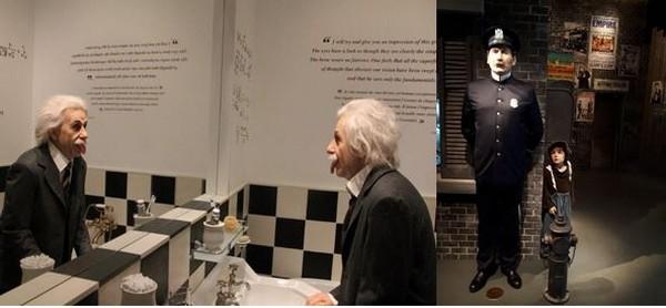 Chaplinsworld  Einstein, habitué du manoir, fait des grimaces dans le miroir. ©Degon  et Musée Chaplin le Studio scène du Kid  ©Degon