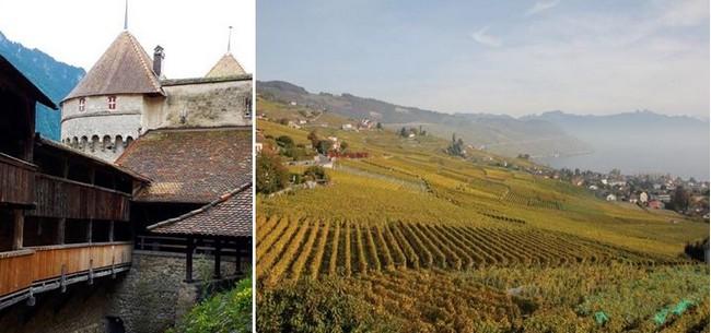 De gauche à droite : Riviera vaudoise, château de Chillon, passage couvert. ©Degon et Riviera vaudoise. Vignoble du Lavaux ©Degon.