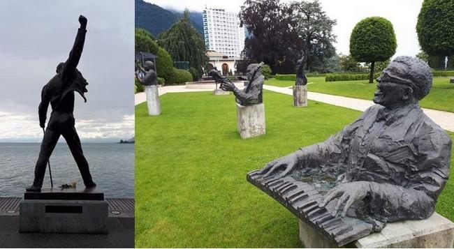 Riviera vaudoise, Montreux, statue de Freddie Mercury regardant le lac. ©Degon  et Montreux le parc des statues des musiciens qui se produisirent au Festival de jazz. ©Degon.