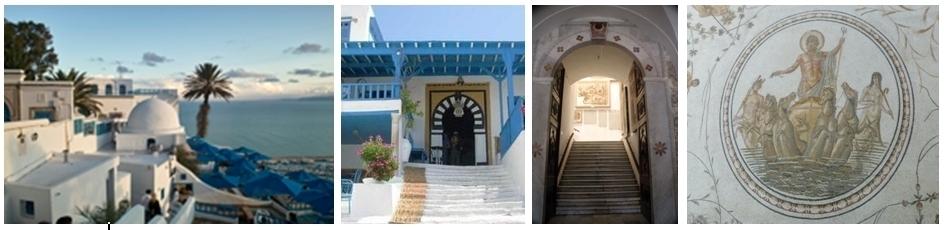 Vue sur Sidi Bou Saïd, Entrée Café des nattes, Porte sur le musée du Bardo, Mosaïque du triomphe de  Neptune.