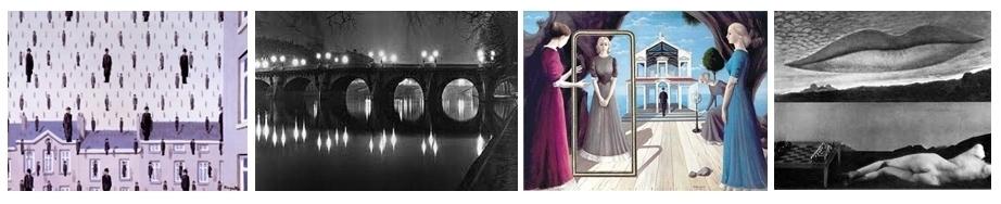 Magritte  - Golconde 1953 - (1898-1967)/ 2 - Brassaï  - Le Pont Neuf (1899-1984) 3 - Paul Delvaux - Les Vestales (1897-1994) 4 - Photo surréaliste  de Man Ray (1890-1976)