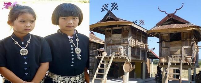 Jeunes Thaï noirs  du nom de la couleur de leurs vêtements et Les maisons traditionnelles en bois de teck sur pilotis du musée des Tai Dam  @ C.Gary